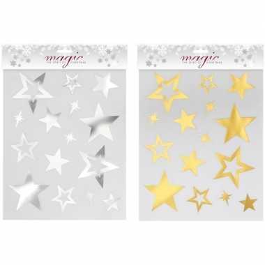 2x kerstversiering kerst raamstickers gouden/zilveren sterren plaatje