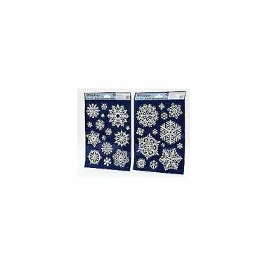 2x velletjes glitter sneeuwvlok kerst raamstickers