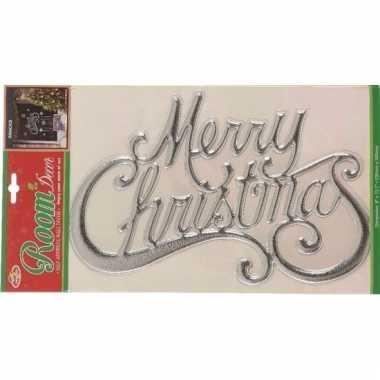 3d kerstmuurversiering merry christmas sticker zilver 30 x 42 cm