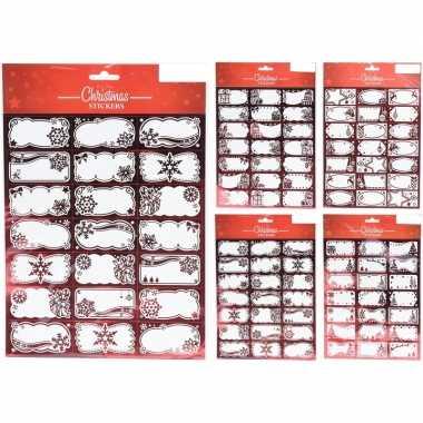 42x kerst cadeau naamstickers/etiketten rood