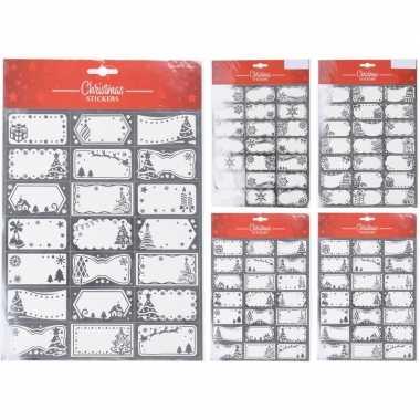 42x kerst cadeau naamstickers/etiketten zilver