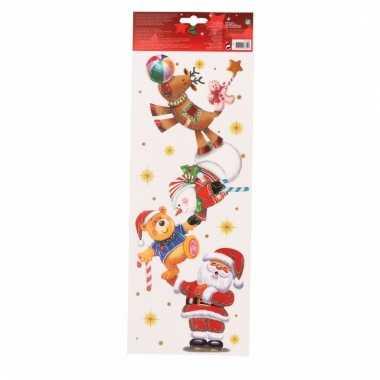 Kerst decoratie kerst raamsticker kerstman met kerstfiguren 42 cm