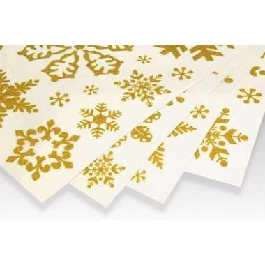 Kerst decoratie kerst raamstickers gouden sneeuwvlokken
