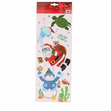 Kerst decoratie kerst raamstickers snorkelende kerstman 42 cm