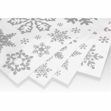 Kerst decoratie kerst raamstickers zilveren sneeuwvlokken