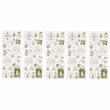 Kerst gouden stickers 130 stuks