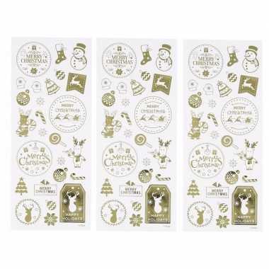 Kerst gouden stickers 78 stuks
