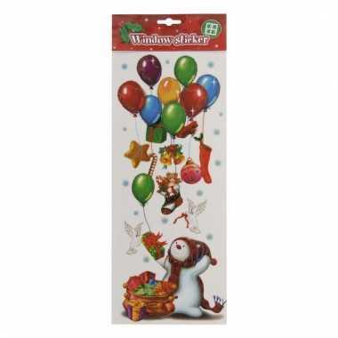 Kerst raamsticker sneeuwpop met ballonnen