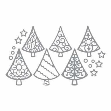 Kerst stickervel kerstbomen zilver