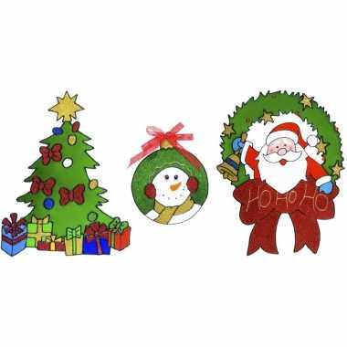 Kerst thema kerst raamstickers set van 3x stuks van 18 tot 30 cm