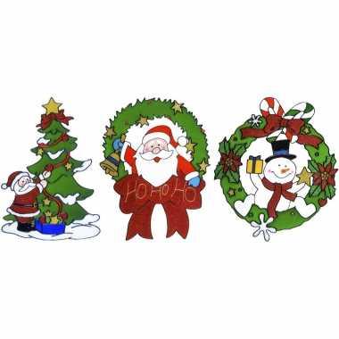 Kerst thema kerst raamstickers set van 3x stuks van 30 cm