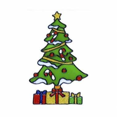 Kerstboom raam sticker 18 cm