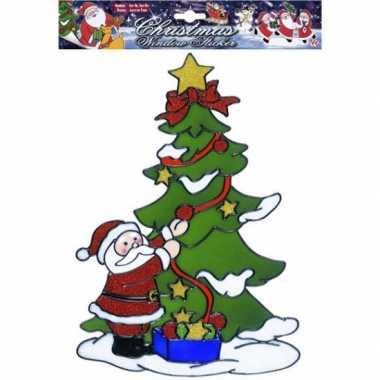 Kerstman bij boom kerst raamsticker herbruikbaar