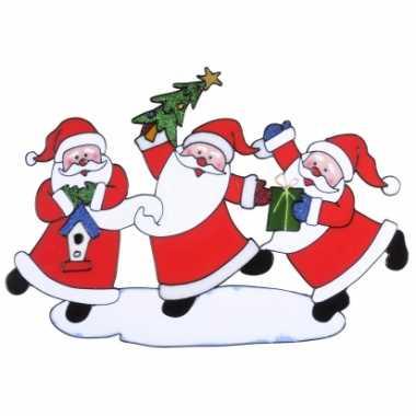 Kerstman kerst raamsticker 40 x 27 cm