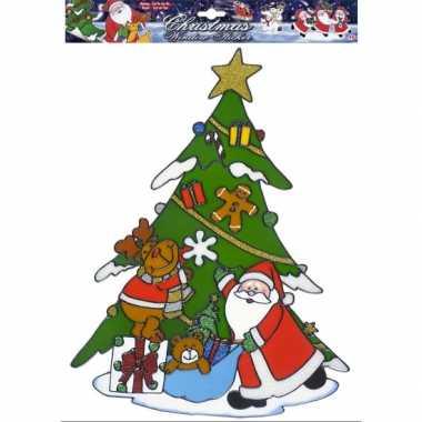 Kerstman kerst raamsticker herbruikbaar