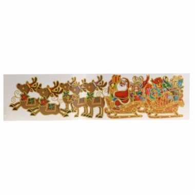Kerstman met rendieren kerststicker