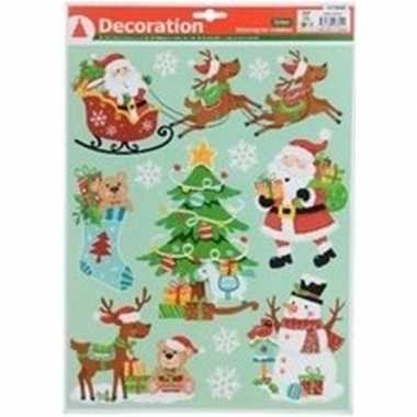 Kerstversiering kerst raamsticker type 4 kerstman en sneeuwvlokken 29
