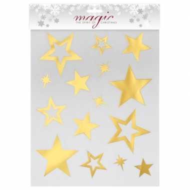 Kerstversiering kerst raamstickers gouden sterren plaatjes 30 cm