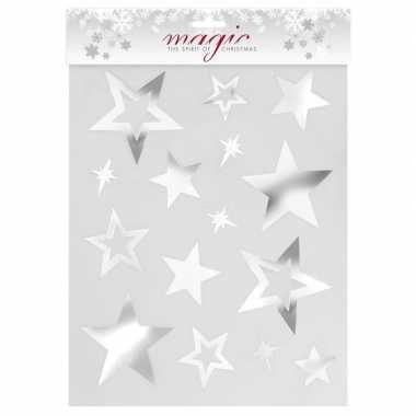 Kerstversiering kerst raamstickers zilveren sterren plaatjes 30 cm