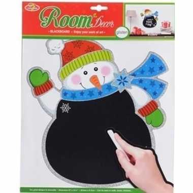 Kerstversiering muursticker sneeuwpopje 31 x 38 cm met beschrijfbaar
