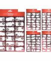 42x kerst cadeau naamstickers etiketten rood