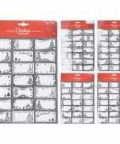 63x kerst cadeau naamstickers etiketten zilver