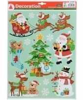 Kerstversiering kerst raamsticker type 4 kerstman en sneeuwvlokken 29 x 41 cm