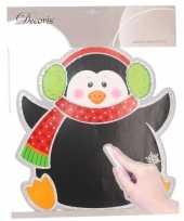 Kerstversiering muursticker pinguin 31 x 38 cm met beschrijfbaar vlak