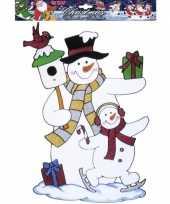 Sneeuwpop kerst raamsticker herbruikbaar